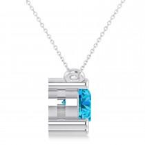 Three Stone Diamond & Blue Topaz Pendant Necklace 14k White Gold (1.50ct)|escape