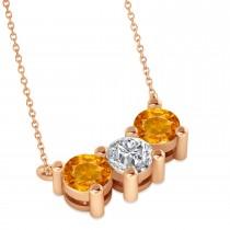 Three Stone Diamond & Citrine Pendant Necklace 14k Rose Gold (1.50ct)