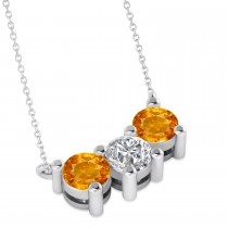 Three Stone Diamond & Citrine Pendant Necklace 14k White Gold (1.50ct)