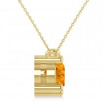 Three Stone Diamond & Citrine Pendant Necklace 14k Yellow Gold (1.50ct)