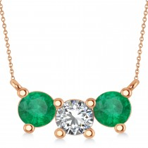 Three Stone Diamond & Emerald Pendant Necklace 14k Rose Gold (1.50ct)