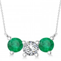 Three Stone Diamond & Emerald Pendant Necklace 14k White Gold (1.50ct)