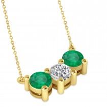 Three Stone Diamond & Emerald Pendant Necklace 14k Yellow Gold (1.50ct)