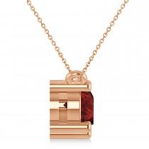 Three Stone Diamond & Garnet Pendant Necklace 14k Rose Gold (1.50ct)