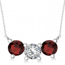 Three Stone Diamond & Garnet Pendant Necklace 14k White Gold (1.50ct)