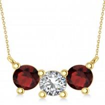 Three Stone Diamond & Garnet Pendant Necklace 14k Yellow Gold (1.50ct)