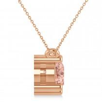 Three Stone Diamond & Morganite Pendant Necklace 14k Rose Gold (1.50ct)