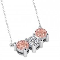 Three Stone Diamond & Morganite Pendant Necklace 14k White Gold (1.50ct)