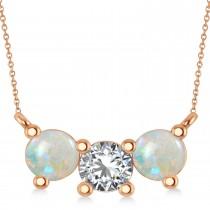 Three Stone Diamond & Opal Pendant Necklace 14k Rose Gold (1.50ct)