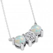 Three Stone Diamond & Opal Pendant Necklace 14k White Gold (1.50ct)