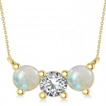 Three Stone Diamond & Opal Pendant Necklace 14k Yellow Gold (1.50ct)
