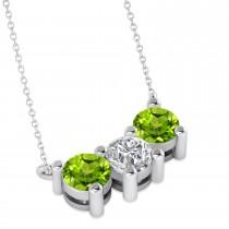 Three Stone Diamond & Peridot Pendant Necklace 14k White Gold (1.50ct)
