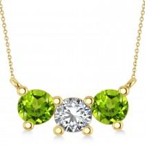Three Stone Diamond & Peridot Pendant Necklace 14k Yellow Gold (1.50ct)