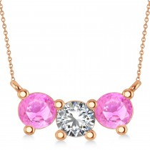 Three Stone Diamond & Pink Sapphire Pendant Necklace 14k Rose Gold (1.50ct)