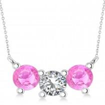 Three Stone Diamond & Pink Sapphire Pendant Necklace 14k White Gold (1.50ct)