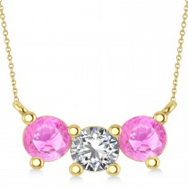 Three Stone Diamond & Pink Sapphire Pendant Necklace 14k Yellow Gold (1.50ct)
