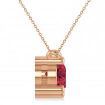Three Stone Diamond & Ruby Pendant Necklace 14k Rose Gold (1.50ct)
