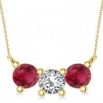 Three Stone Diamond & Ruby Pendant Necklace 14k Yellow Gold (1.50ct)
