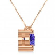 Three Stone Diamond & Tanzanite Pendant Necklace 14k Rose Gold (1.50ct)