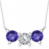 Three Stone Diamond & Tanzanite Pendant Necklace 14k White Gold (1.50ct)