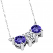 Three Stone Diamond & Tanzanite Pendant Necklace 14k White Gold (1.50ct)