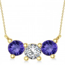 Three Stone Diamond & Tanzanite Pendant Necklace 14k Yellow Gold (1.50ct)
