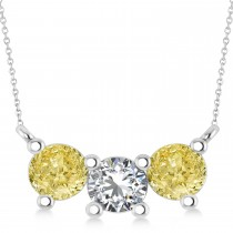 Three Stone Diamond & Yellow Diamond Pendant Necklace 14k White Gold (1.50ct)