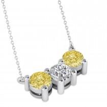 Three Stone Diamond & Yellow Diamond Pendant Necklace 14k White Gold (1.50ct)