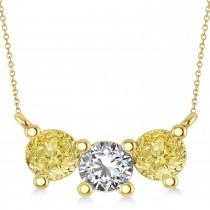 Three Stone Diamond & Yellow Diamond Pendant Necklace 14k Yellow Gold (1.50ct)