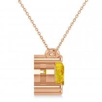 Three Stone Diamond & Yellow Sapphire Pendant Necklace 14k Rose Gold (1.50ct)