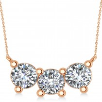 Three Stone Diamond Pendant Necklace 14k Rose Gold (3.00ct)
