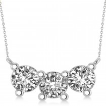 Three Stone Diamond Pendant Necklace 14k White Gold (3.00ct)