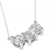 Three Stone Diamond Pendant Necklace 14k White Gold (3.00ct)