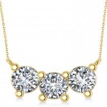 Three Stone Diamond Pendant Necklace 14k Yellow Gold (3ct)
