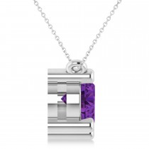Three Stone Diamond & Amethyst Pendant Necklace 14k White Gold (3.00ct)