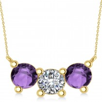 Three Stone Diamond & Amethyst Pendant Necklace 14k Yellow Gold (3.00ct)