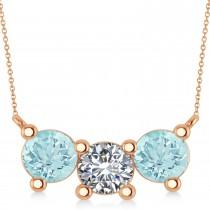 Three Stone Diamond & Aquamarine Pendant Necklace 14k Rose Gold (3.00ct)