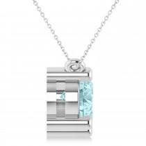 Three Stone Diamond & Aquamarine Pendant Necklace 14k White Gold (3.00ct)|escape