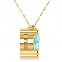 Three Stone Diamond & Aquamarine Pendant Necklace 14k Yellow Gold (3.00ct)