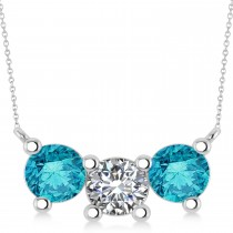 Three Stone Diamond & Blue Diamond Pendant Necklace 14k White Gold (3.00ct)