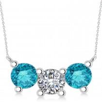 Three Stone Diamond & Blue Diamond Pendant Necklace 14k White Gold (3.00ct)