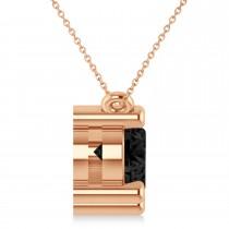 Three Stone Diamond & Black Diamond Pendant Necklace 14k Rose Gold (3.00ct)