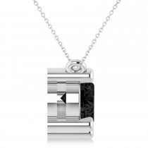 Three Stone Diamond & Black Diamond Pendant Necklace 14k White Gold (3.00ct)
