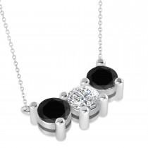 Three Stone Diamond & Black Diamond Pendant Necklace 14k White Gold (3.00ct)