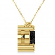 Three Stone Diamond & Black Diamond Pendant Necklace 14k Yellow Gold (3.00ct)