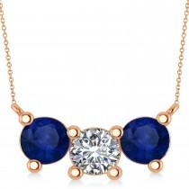 Three Stone Diamond & Blue Sapphire Pendant Necklace 14k Rose Gold (3.00ct)