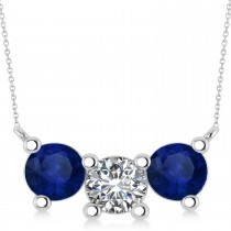 Three Stone Diamond & Blue Sapphire Pendant Necklace 14k White Gold (3.00ct)