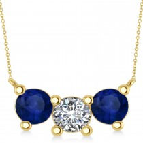 Three Stone Diamond & Blue Sapphire Pendant Necklace 14k Yellow Gold (3.00ct)