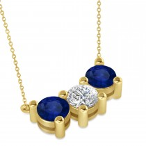 Three Stone Diamond & Blue Sapphire Pendant Necklace 14k Yellow Gold (3.00ct)