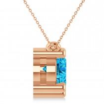 Three Stone Diamond & Blue Topaz Pendant Necklace 14k Rose Gold (3.00ct)